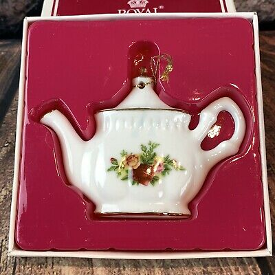 Royal Albert Old Country Rose Christmas Ornament Teapot Fine China Vtg 1998