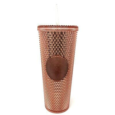 Starbucks Summer 2019 Rose Gold Iridescent Jeweled Pink Venti Cold Tumbler Cup