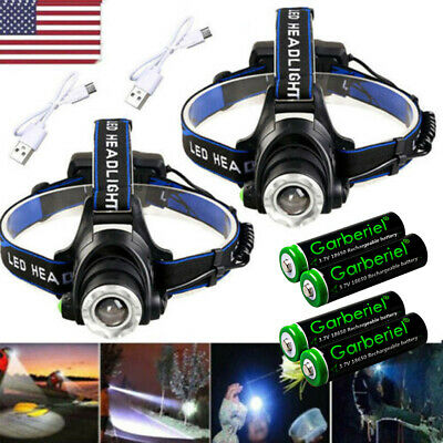 900000Lumen T6 LED Zoomable Headlamp USB Rechargeable 18650 Headlight Head Torch