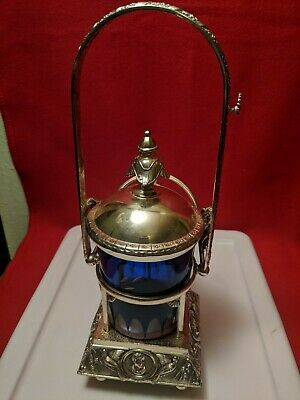 Antique Cobalt Cut glass ice bucket? in silver toned holder with tongs
