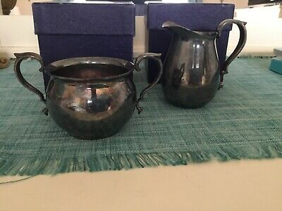 Vintage REED & BARTON Small Silverplate Creamer Pitcher & Sugar Bowl Never Used!
