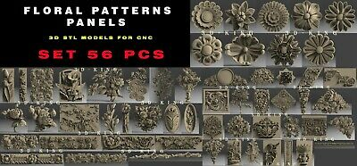 56 PCS 3D STL Model # FLORAL PATTERNS # for CNC Aspire Artcam Engraver Carving