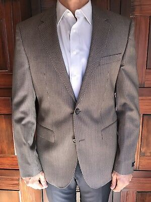 BOSS by Hugo Boss James4 Blazer Brown Houndstooth Wool Size 40R New Retail $595
