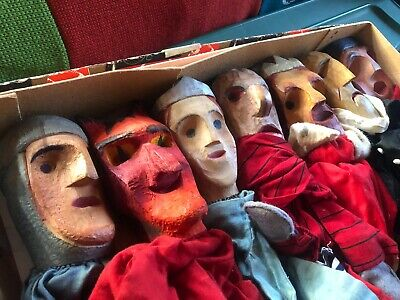 Estate Lot 7 Hand Carved Wood Folk Art German Puppets -Shakespeare Devil Friar