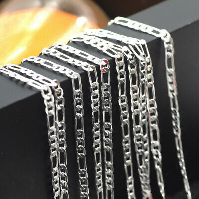 Fashion Men Necklace Chain Silver Figaro Plated Stainless Steel Hip-hop 3.5mm