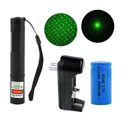 Green Purple 851 Laser Pointer Pen 532nm Burning Lazer 1mw+16340 Battery Charger