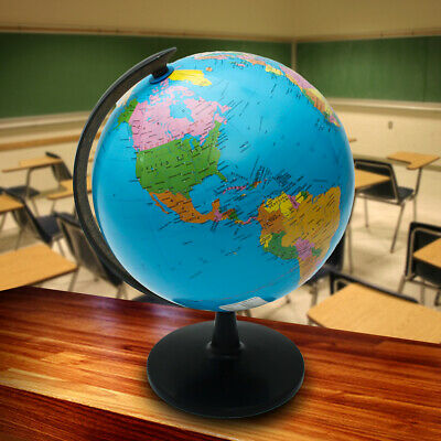 25CM Rotating World Globe Earth Map W/ Stand Geography Educational Kids Gift