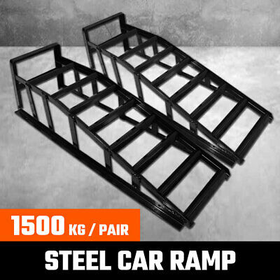 2Pcs Steel Car Ramp Lifts Loading 1500 kg Vehicle Ramps Pair Heavy Duty 1.5 Ton