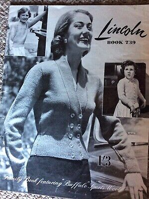 Vintage Lincoln Knitting Pattern Book 739 Family Book - Buffalo Sports Wool