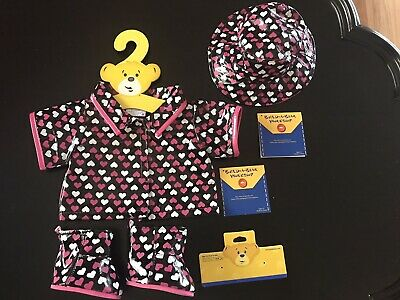 BNWT - Heart Raincoat, Hat, Boot Set Build A Bear Genuine Clothes