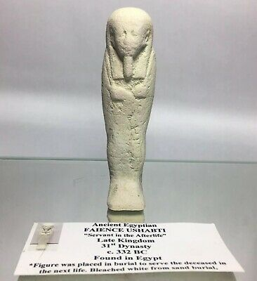 Ancient Egyptian Late Kingdom Faience Ushabti Mummy Totem Artifact