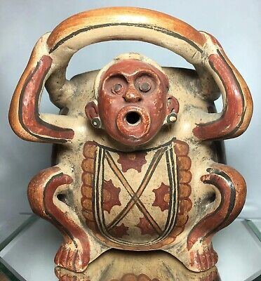 Pre-Columbian Monkey / Jaguar Were Human Effigy Painted Glaze Terra Cotta Vessel
