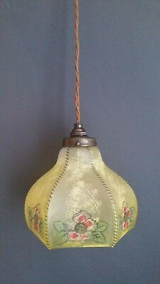 English Victorian Yellow Floral Glass Ceiling Pendant Light/Lamp Shade