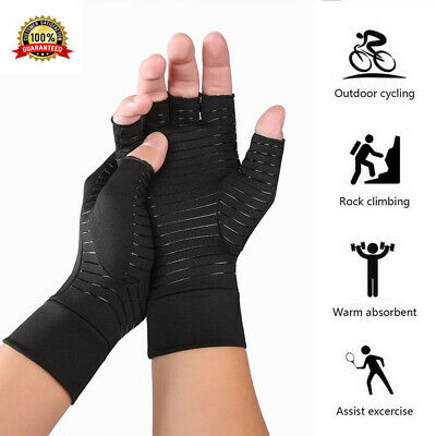 2 Pcs New Copper Fit Arthritis Compression Gloves Hand Support Joint Pain Relief