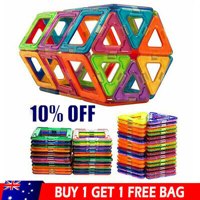 100PCS Magnetic Toy Building Blocks Set 3D DIY Tiles Magic Construction Gift Kid
