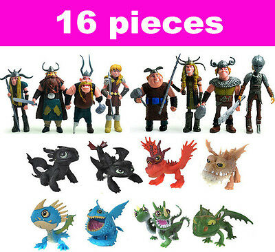 16Pcs How to Train Your Dragon Toothless Night Fury Hiccup Action Figures Toys