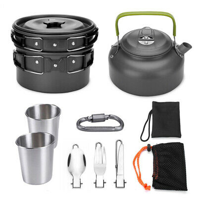Aluminium Alliage Cuisine Friture Pot Théière Cuiller Fourche Tasses Set Potable