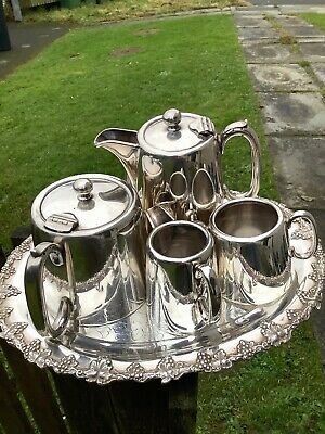 FINE HEAVY SILVER PLATED 'HOTEL WARE' MATCHING 4x PIECE SET-'N,S, Bros.SHEFFIELD