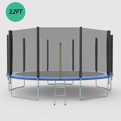 Round Jump Trampoline with Safety Enclosure Net & Spring Pad Ladder 12FT
