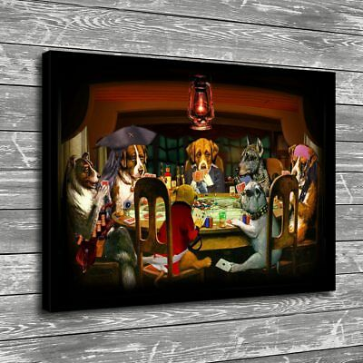 """16""""x22""""Dog Playing Cards Posters HD Canvas Prints Home Decor Wall art picture"""