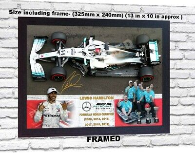 NEW Lewis Hamilton 6 TIME WORLD CHAMPION signed poster photo print F1 FRAMED