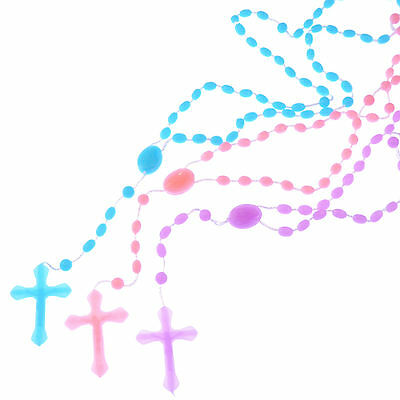 3 x prison issue plastic rosary beads prayer blue pink purple basic Christian