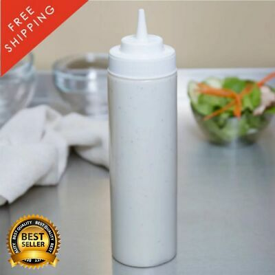 6 Pack 24 Oz Clear Wide Mouth Plastic Condiment Dressing Sauce Squeeze Bottle