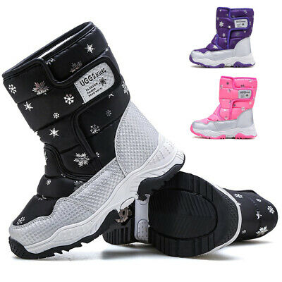 Kids Boys Girl Ankle Mid Top Boots Winter Warm Printed Fur Shoes Slip On Walking