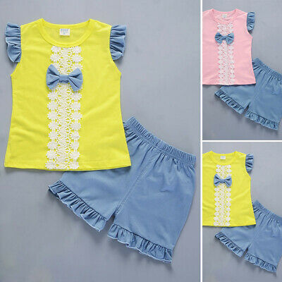 Kids Girl Baby Bowknot Lace Short Sleeve Tops+shorts Ruffled Trouser Pants Set