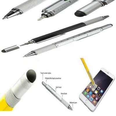 6 in 1 Multi Purpose Touch Screen Stylus Ballpoint Pen Ruler Level Screw Tool
