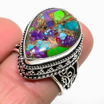 Spiny Oyster Copper Turquoise Gemstone 925 Sterling Silver Jewelry Ring Size 7