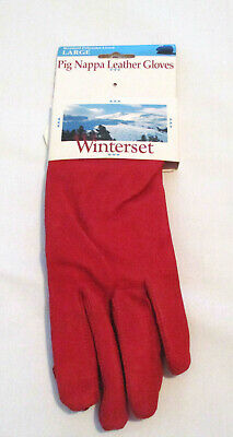 Womens Winterset Pig Nappa Red Leather Gloves, Size Large (NEW)