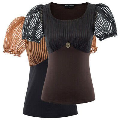 Punk Gothic Steampunk Victorian Short Sleeve Shirt Blouse Tops Tee For Women New