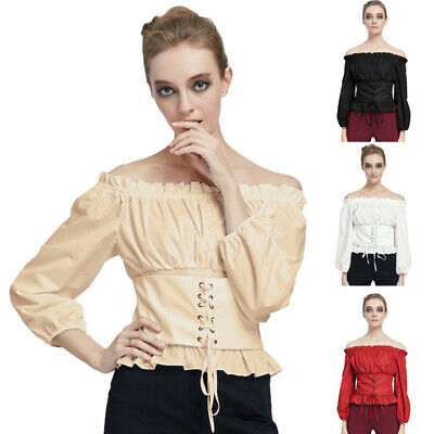 Punk Rave Womens Steampunk Lace Up Gothic Victorian Off Shoulder Blouse Shirts