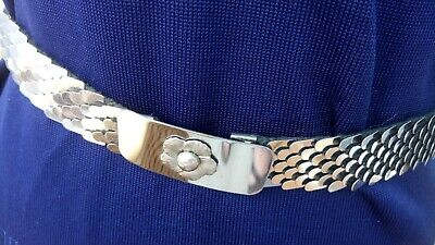 Fab True Vintage 1970s Silver metal Fish Scale Belt small size