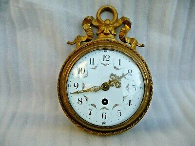 Antique Small Cartel Wall Clock Enamel Dial Platform Escapement Convex Glass Key
