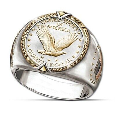 Men's Ring 925 Silver Gold U.S. Eagle Coins Collector Ring Viking Two Tone Gifts