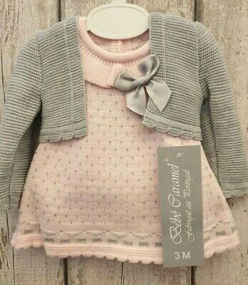 Spanish Style Baby Girl Pink and Grey Knitted Dress and Bolero Set.