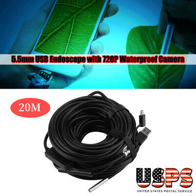 5.5mm 20M USB Endoscope with 720P Waterproof Camera for Pipe Car Inspection