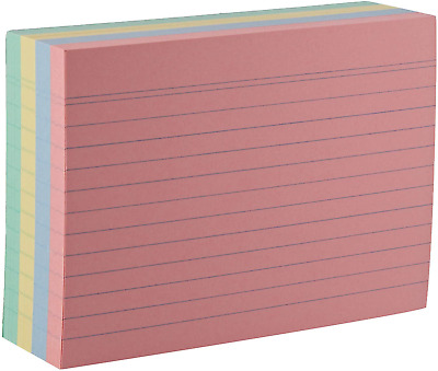Set 200 A6 Ruled Lined Coloured Record Flash Cards Revision Index School Office