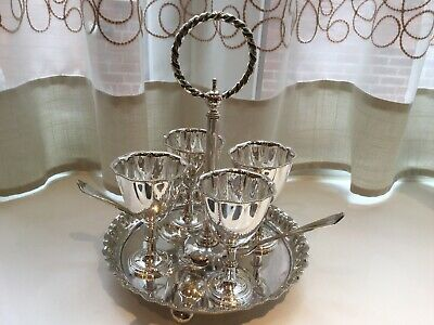 Beautiful Antique Victorian Henry Bourne Silver Plated Egg Cup Holder And Spoons