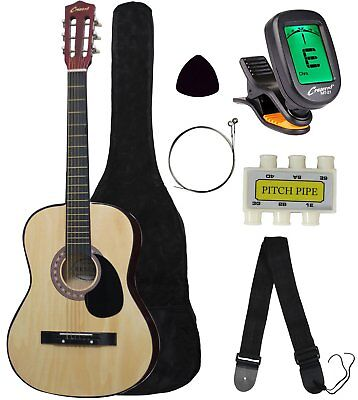 "Best Choice 38"" Natural Wood Acoustic Guitar Starter Package w/ Digital E-Tuner"