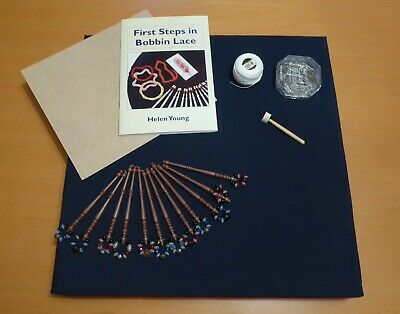 Beginners bobbin lace starter kit including pillow, bobbins and book
