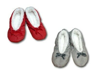 Girls Women Soft Light Warm Winter Glitter Christmas Slippers Red Grey UK1-7