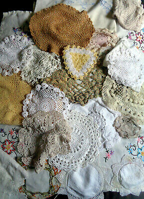 Job Lot Vintage Embroidered Table Cloth Mats Pillow Case Doilies 22 item (#64)