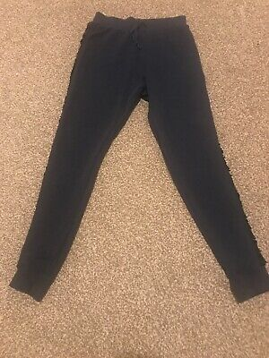 Next Girls Navy Tracksuit Trousers With Sequin Trim Age 10 Yrs