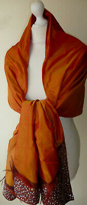 Rust Orange Iridescent Satin Stole Wrap Long Feather Sequin Trim SECONDS Stage