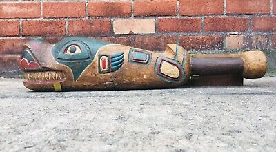 NW Coast / Tlingit Native American Salmon Fish Club Carved Wood Painted Artifact