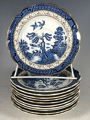 11 Booths Real Old Willow A8025 Teacup Saucer Blue White Gold trim England