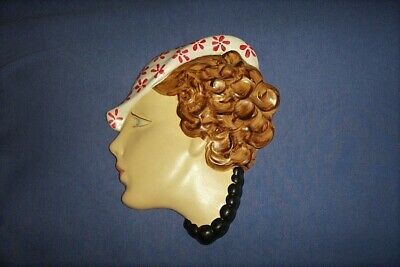 Vintage Style Art Deco Lady  Plaster Chalkware Wall Plaque